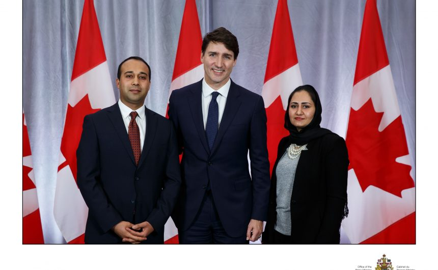 Mr. Jabar Rahimi, the Afghan embassy charge d'affairs, and his spouse Mrs. Samia Rahimi participated at the new year reception at the Global Affairs Canada. It was a great honour they met with Right Honorable Justin Trudeau, prime minster of Canada.  Mr. Rahimi appreciated Mr. Trudeau's warm welcome and expressed Afghan government desire for strong relationship between two countries.